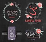 Fototapety Set of retro photo logos. Wedding photography collection.