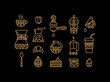 Set coffee icons gold