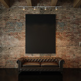 Fototapety Photo of black empty canvas on the natural brick wall background and vintage classic sofa. 3d render