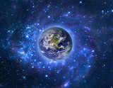 Planet Earth in outer space. Imaginary view of blue glowing earth orbit in a star field. Abstract cosmos in dark galaxy scientific astronomy background. Elements of this image furnished by NASA. - Fine Art prints