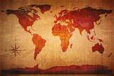 World Map Grunge Styled