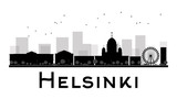 Fototapety Helsinki City skyline black and white silhouette. Some elements have transparency mode different from normal