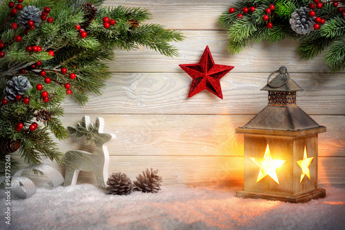 Stylish ornamental Christmas arrangement Poster