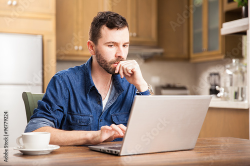 Guy working from home Poster