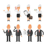 Set characters old business woman businessman