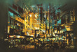 night scene cityscape,abstract art painting - 96792655