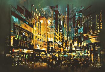 night scene cityscape,abstract art painting