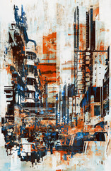 abstract grunge of cityscape,illustration painting