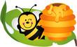 Obrazy na płótnie, fototapety, zdjęcia, fotoobrazy drukowane : Happy bee sitting on leaf with hive