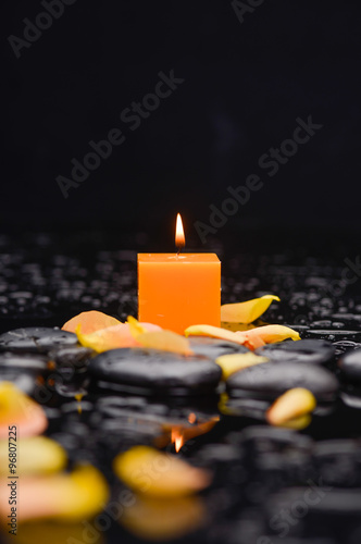 Still life with rose petals with candle and therapy stones  © Mee Ting