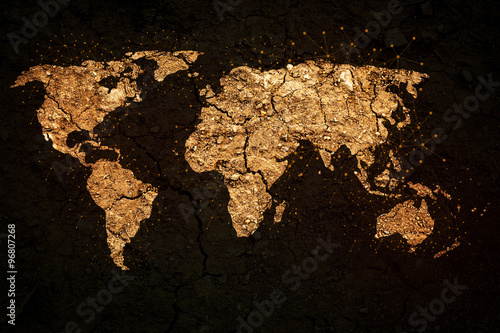 Poster world map on grunge background