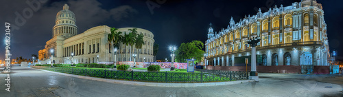 Fotobehang Havana Cuba grand Teatro Capitol Havanna Nacht