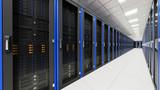 Fototapety Inside the long server room tunnel 3d render