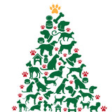 Furry Christmas Tree greeting card design. EPS 10 vector