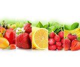 fruit and vegetable stripe collection on white background