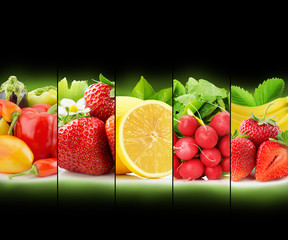 fruit and vegetable stripe collection on black background
