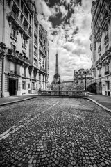 Eiffel Tower seen from the street in Paris, France. Black and white © Photocreo Bednarek