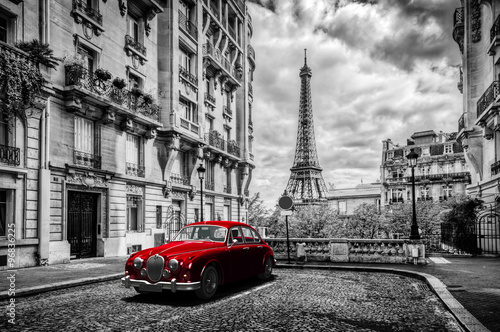 Fototapety, obrazy : Artistic Paris, France. Eiffel Tower seen from the street with red retro limousine car.