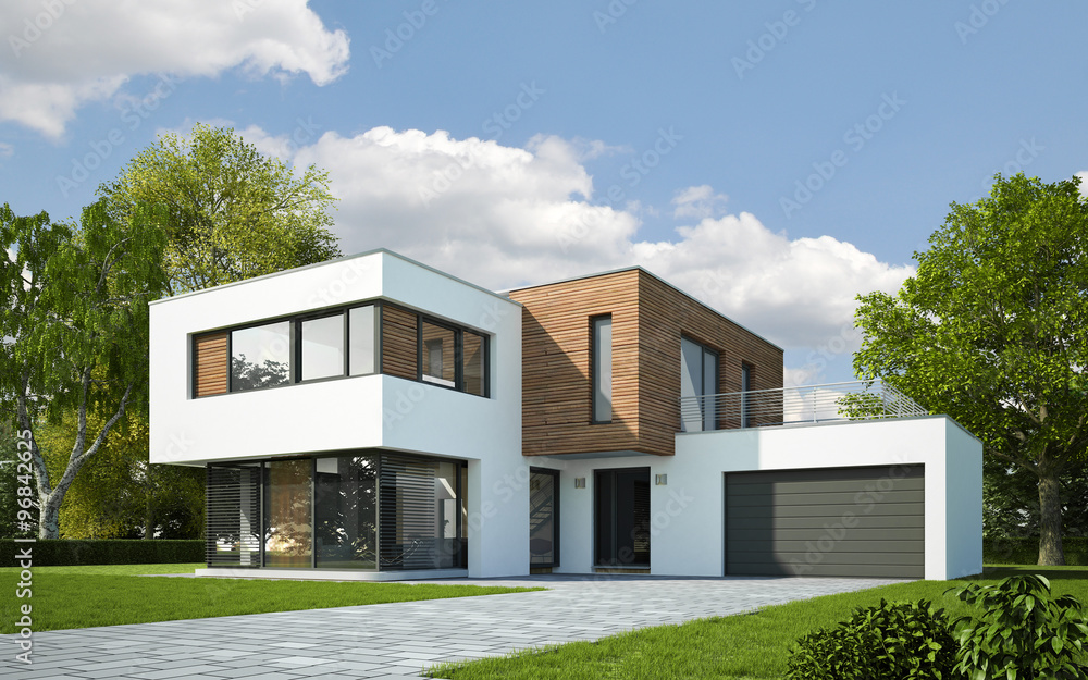 Haus kubus mit holzelementen 96842625 fototapety na cian for Maison moderne home sweet home