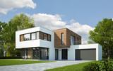 Haus Kubus mit Holzelementen - 96842625