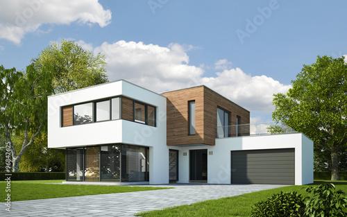 Haus Kubus mit Holzelementen © KB3