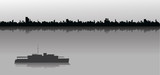 Sailing ship and city skyline - 96862654