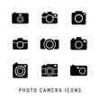Photo camera silhouettes icon set. Black icons.