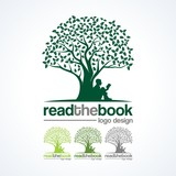 Fototapety Education Logo - Read a Book Under a Tree  Illustration Design Logo