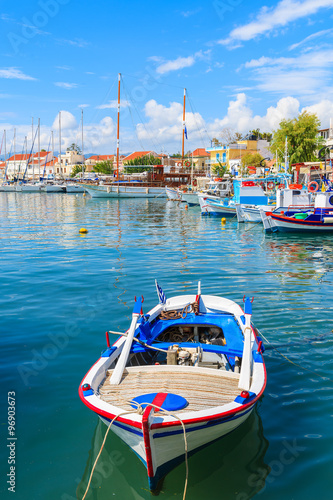 Aluminium Traditional colourful Greek fishing boat in Pythagorion port, Samos island, Greece
