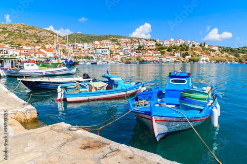 Aluminium Traditional Greek fishing boats in Pythagorion port, Samos island, Greece