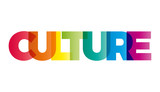 The word Culture. Vector banner with the text colored rainbow.