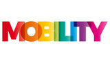 The word Mobility. Vector banner with the text colored rainbow.