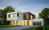 Haus Kubus mit Holzelementen am Abend - 96906875