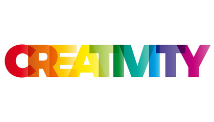 The word Creativity. Vector banner with the text colored rainbow © puckillustrations
