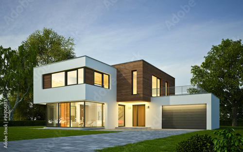 Fridge magnet Haus Kubus mit Holzelementen am Abend
