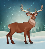 Winter Reindeer - The vector illustration vailable in AI/EPS and JPEG formats