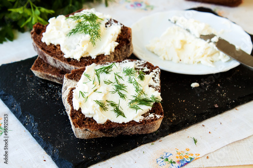 "Rye bread and cream cheese with herbs"" Stock photo and royalty-free ..."