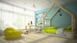 Interior of children room with toy car 3D rendering 3