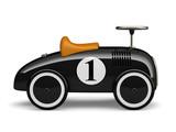 Fototapety Black retro toy car number one isolated on white background