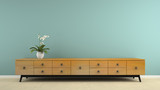 Fototapety Part of  interior with stylish retro consol and orchid 3D render