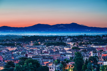 Roma cityscape at twilight
