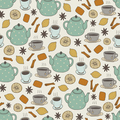 vector hand drawn seamless pattern with tea set