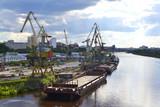 River port on the Tura River in Tyumen, Russia