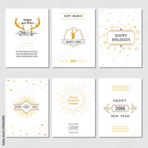 christmas and new year cards art deco style