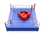 Boxing ring with large Boxing gloves on it. 3d.