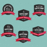 Fototapety Coffee shop drink and beverage labels, banner , logo and badges vector set
