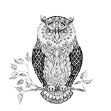 Drawing owl with beautiful patterns - 96973670