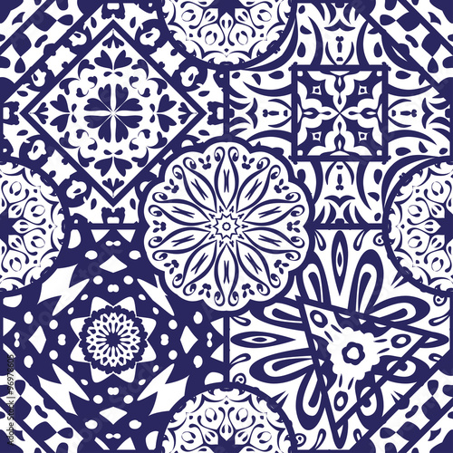 Vector abstract seamless pattern varies ornaments, geometric patterns, circles, squares, triangles and floral patterns.