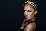 Fototapety Beauty portrait of a young woman with braid hairstyle