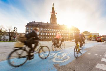 People going by bike in Copenhagen